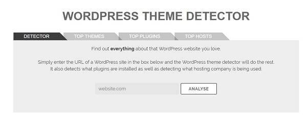 how to detect wp theme using makeawebsitehub tool