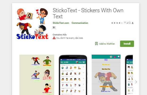 stickotext for whatsapp