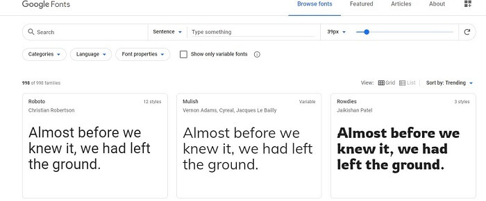 google fonts for computer