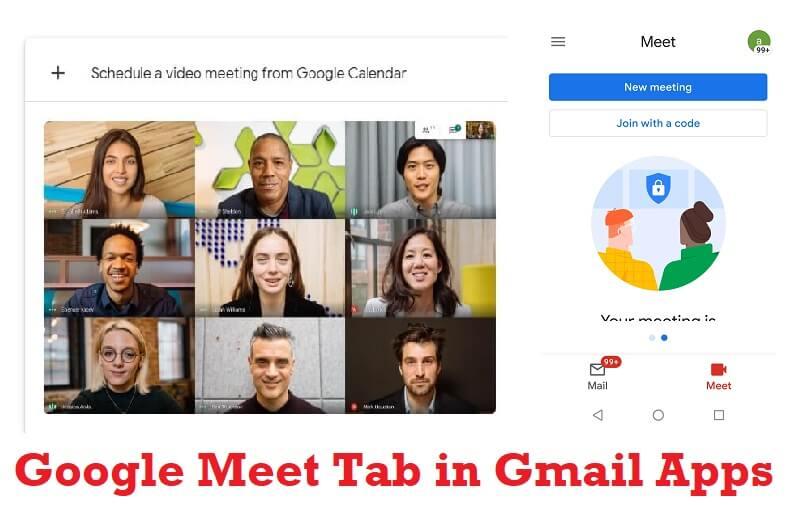 google meet tab in gmail apps