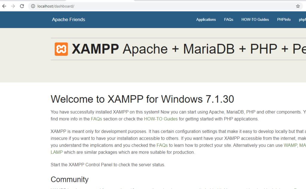 localhost with using xampp server