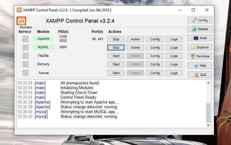 xampp control panel service activated