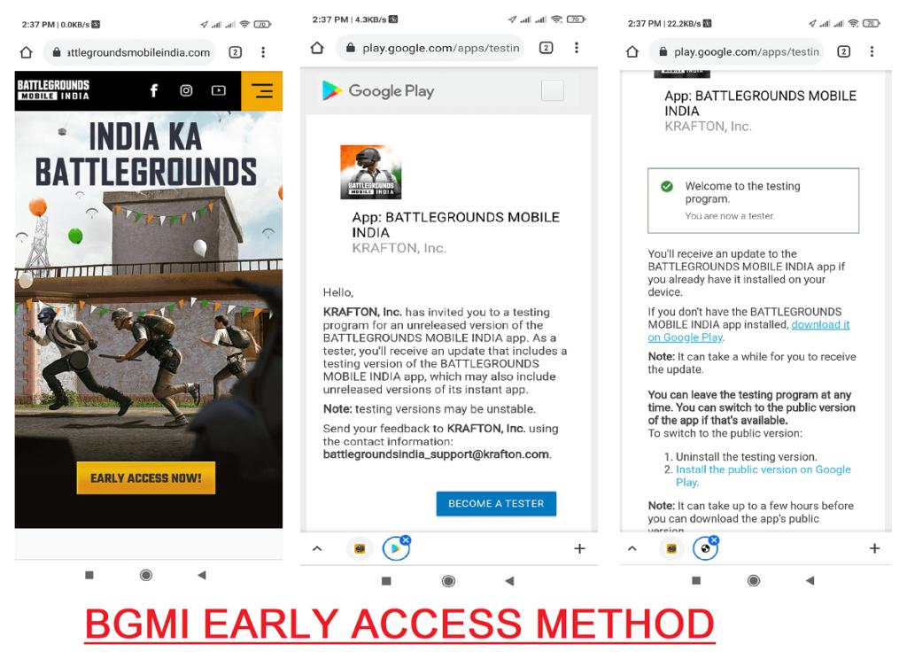 BGMI EARLY ACCESS METHOD