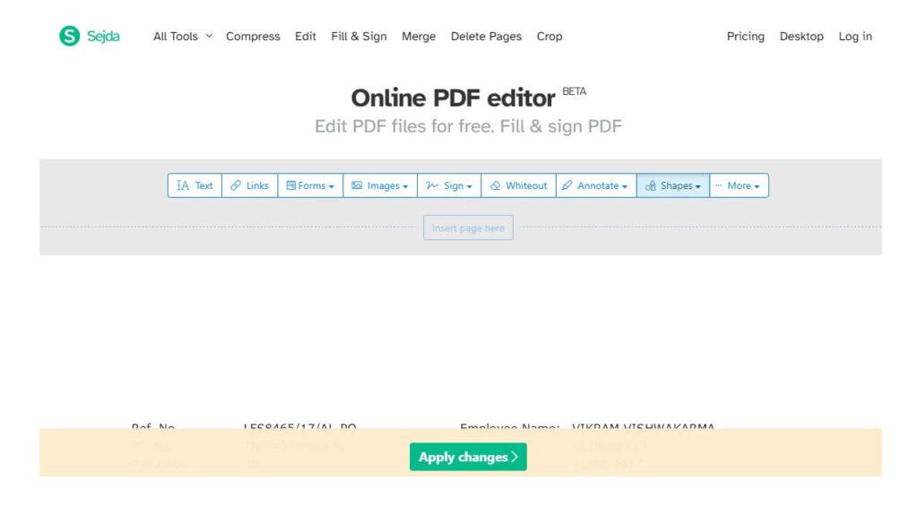 SEJDA FREE ONLINE PDF FILE EDITOR TOOL