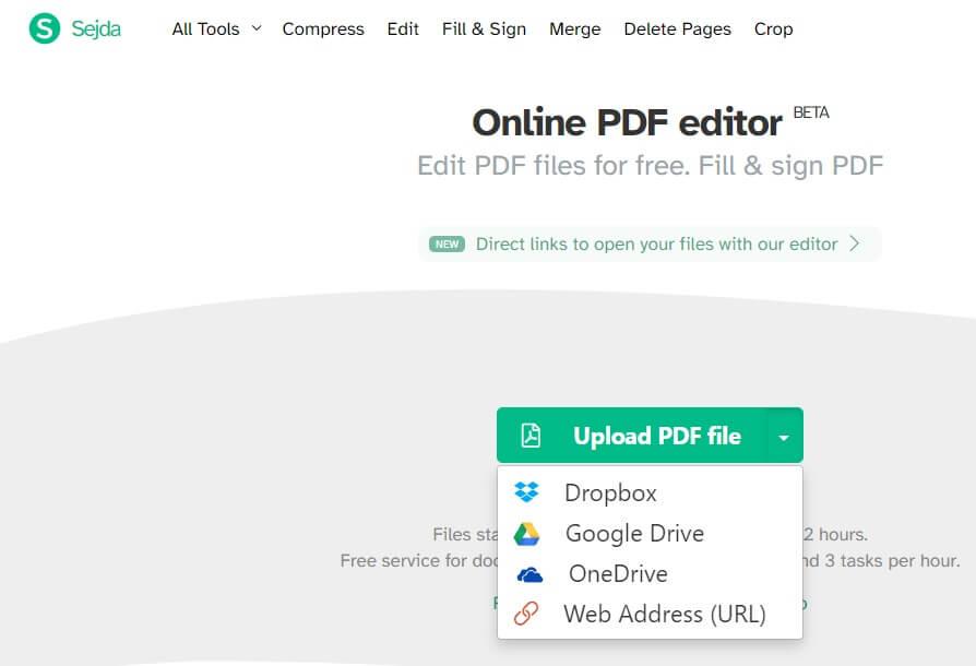 SEJDA PDF FILE EDIT UPLOAD A FILE OPTION
