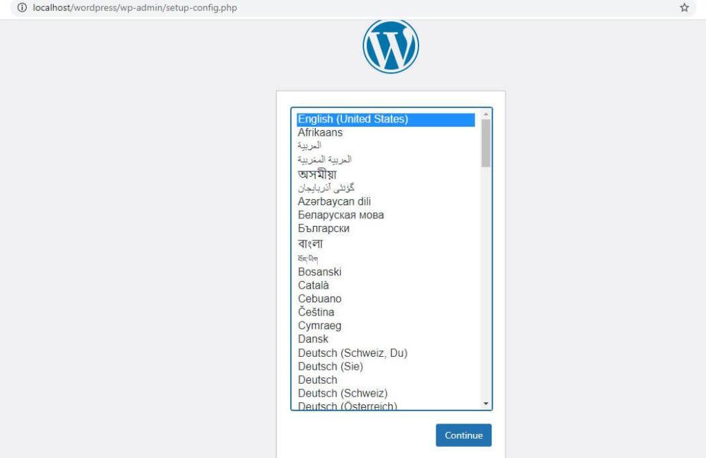 localhost wordpress setup
