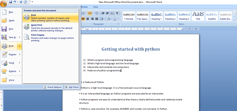 print microsoft word file