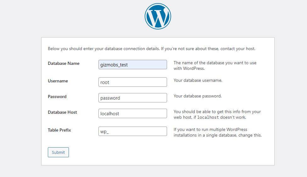 add wordpress batabase details