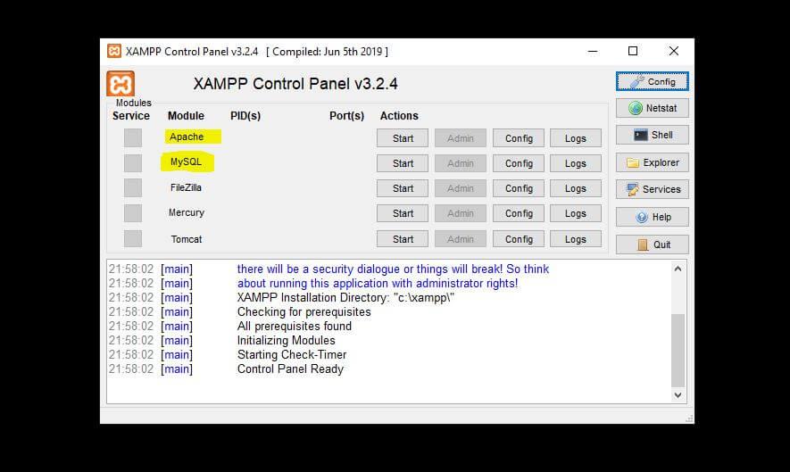 xampp server control panel